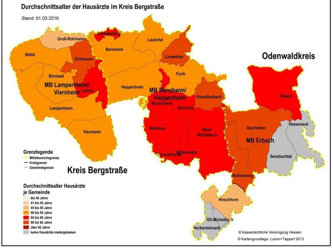 Karte des Kreis Bergstraße eingefärbt nach Durchschnittsalter