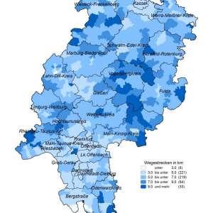 Karte Hessens mit Wegstrecken zum Arzt